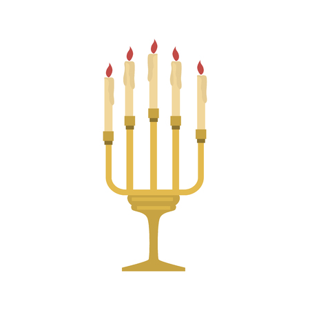 Church candles color vector icon. Flat design