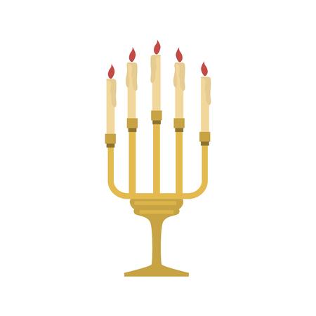 Church candles color vector icon. Flat design