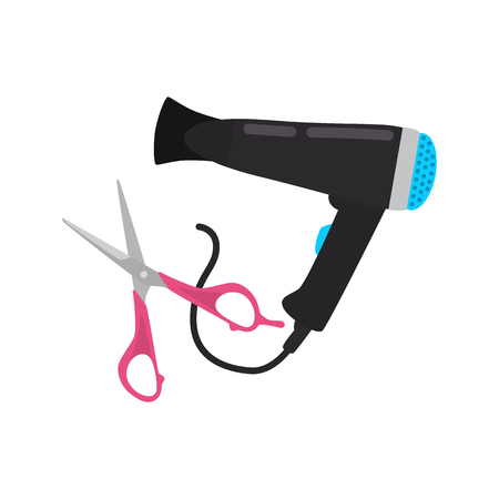 Hair dryer and scissors color vector icon. Flat design Ilustrace