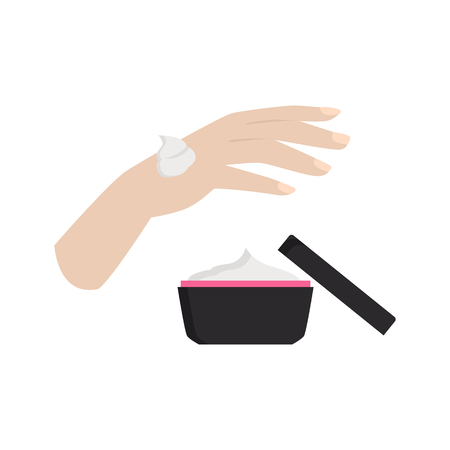 Applying hand cream color vector icon. Flat design Ilustrace