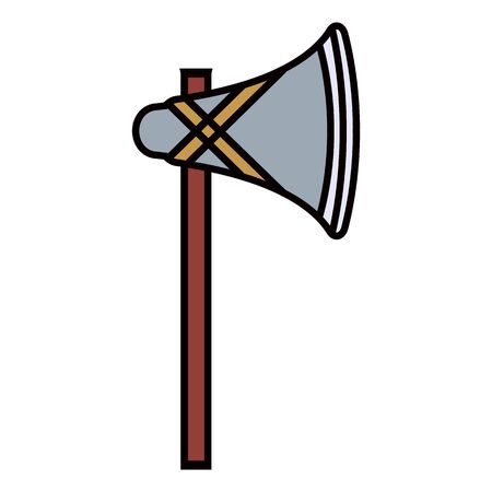primitive weapon ax flat icon 向量圖像