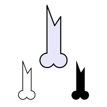 primitive weapon bone line flat simle set icon Illustration