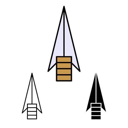 primitive weapon arrow line flat simle set icon