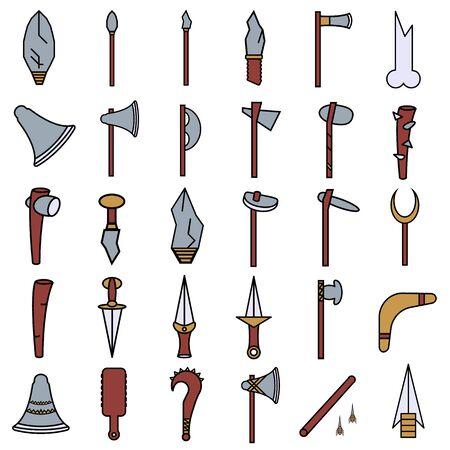 primitive weapon flat color icon set