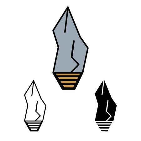 primitive weapon stone line flat simle set icon