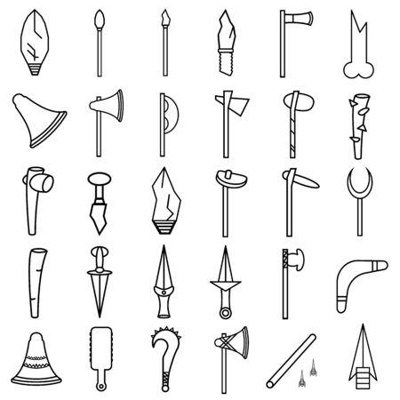 primitive weapon line icon set