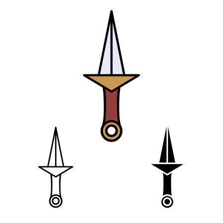 primitive weapon dagger line flat simle set icon