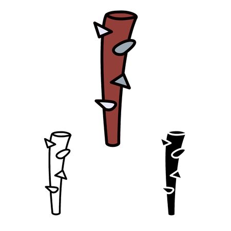 primitive weapon club line flat simle set icon