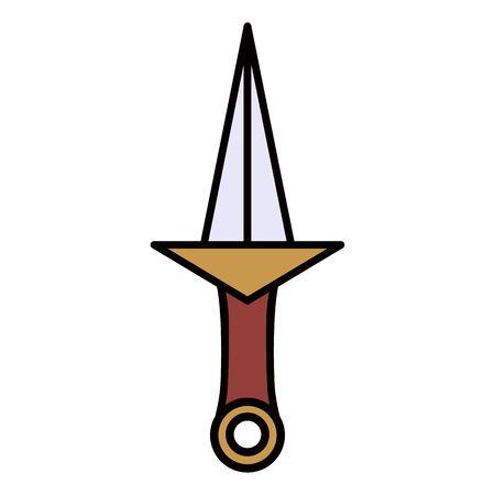 primitive weapon dagger line icon