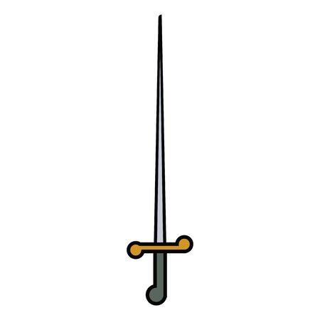 medieval weapon icon flat sword