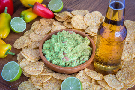 Mexican party food beer chips photo
