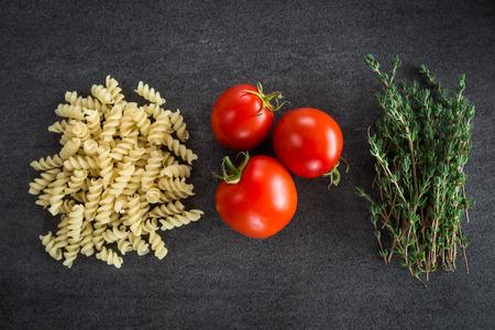 Tomato pasta thyme herbs ingredients