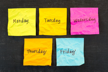 scrunched: Days of week sticky notes Stock Photo