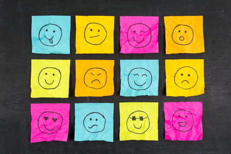 sticky: Crumpled sticky note emoticons smileys