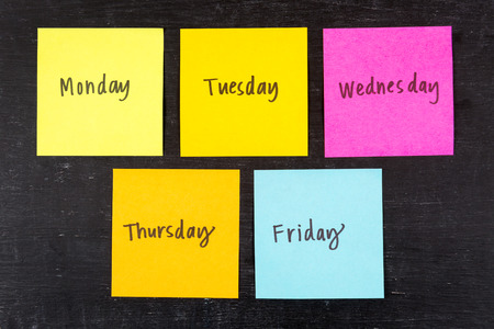 Days of the week sticky notes