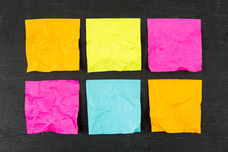 Blank crumpled colorful sticky notes