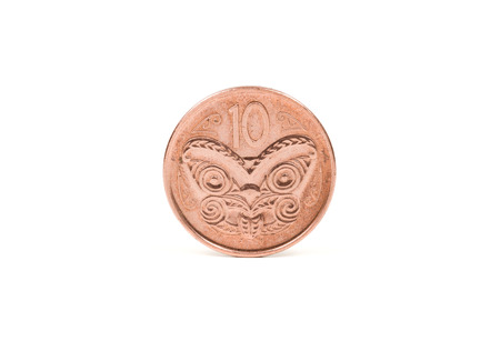 copper coin: New Zealand 10 cent coin