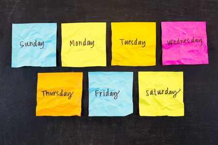 days of the week: Crumpled days of week sticky notes