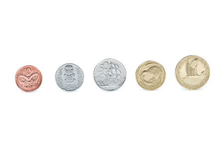 2 50: New Zealand coins isolated on white