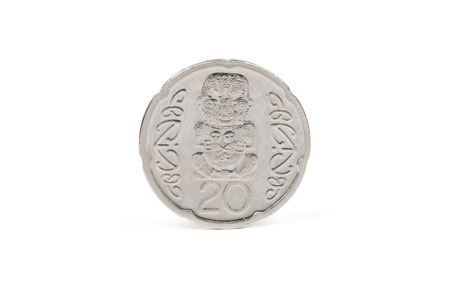 coin silver: New Zealand twenty cent coin