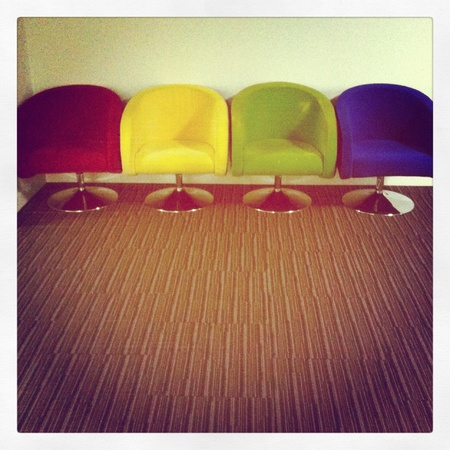 filtered: Colorful chairs on carpet filtered Stock Photo