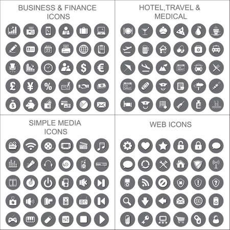 Collection of Business,finance,hotel,travel,medical,web,simple media icons set.Vector illustration design.Use for info graphic,mobile,brochure,leaflet,template,banner,wallpaper,flyer,card designing.