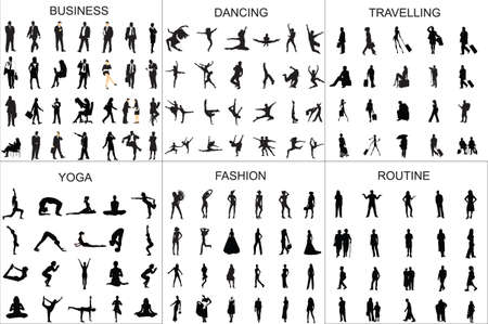 People black silhouette girl and man vector illustration walking,traveling,dancing,doing routine,yoga,business,fashion. Vecteurs
