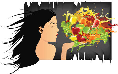 Girl Blowing various fruits and splashes Standard-Bild
