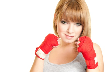 Portrait of beautiful red-haired girl in a glove Kickboxing Imagens