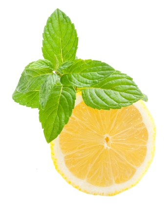 lime slice: Lemon and mint on a white background