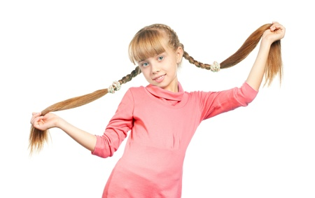 plait: Little girl holding her long braids