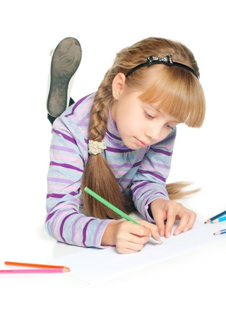 woman looking down: Little girl drawing on the floor, on white background