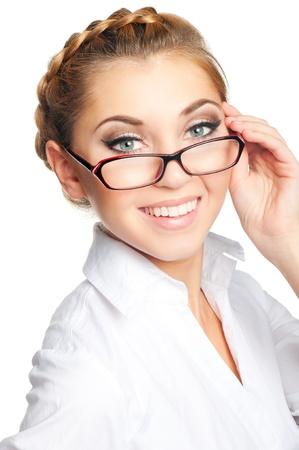 Beautiful young woman with glasses Imagens