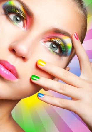 make up eyes: Creative many-coloured rainbow makeup