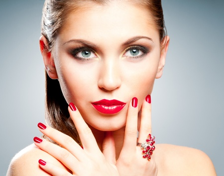 Woman with bright red lips and manicure Stock Photo - 12869368
