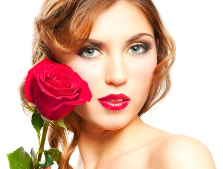 Beautiful woman with red lips and rose isolated on white Stock Photo - 12869367