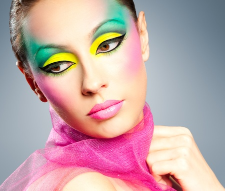 make up model: Creative many-coloured makeup