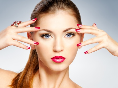 Woman with bright red lips and manicure Stock Photo - 12964994