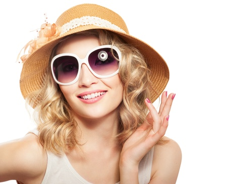 Fashion smiling beautiful woman in sunglasses and hat photo
