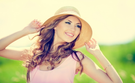 gorgeous: Beautiful happy smiling woman on summer meadow