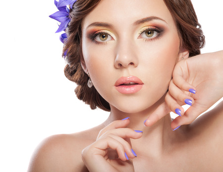 beautiful woman with bright makeup, lips and manicure