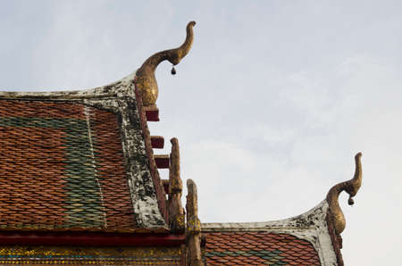 decorate: gable apex on roof in Old temple