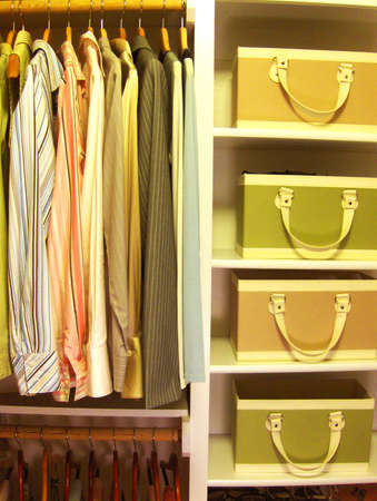 womens clothing: organized closet Stock Photo