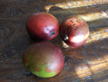 mangos on naturally sunlit wooden table