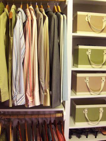 women's clothing in organized closet