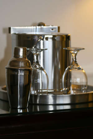 BARWARE: silver barware set in luxury suite Stock Photo