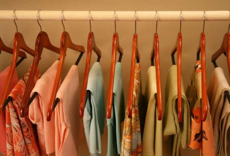 neatly hung row of womens clothing