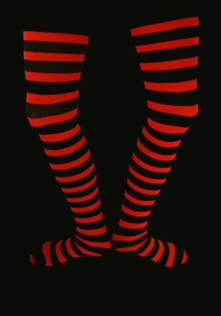 thigh high striped stockings photo
