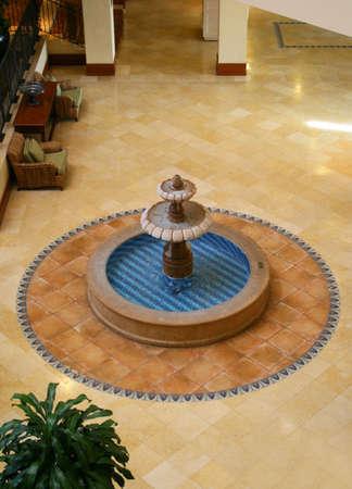 fountain in hotel lobby
