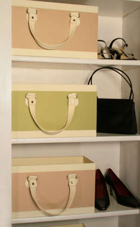 closet: womens accessories displayed on shelves